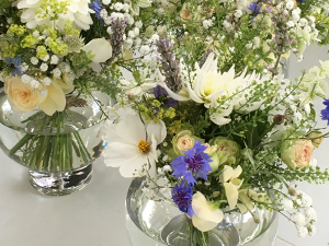 arrangement with cornflowers