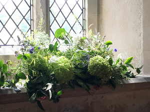 Church window sill arrangement