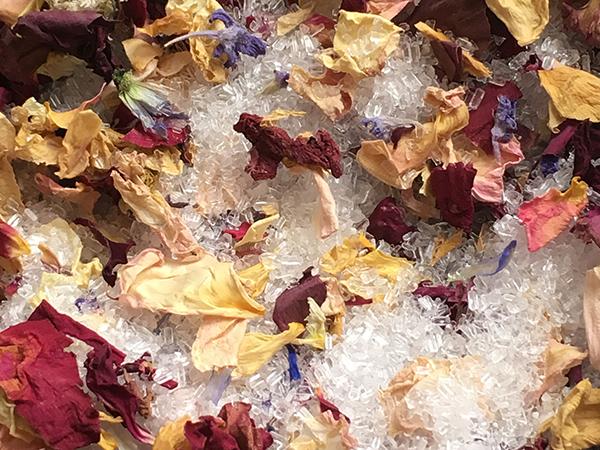 bath salts with flower petals